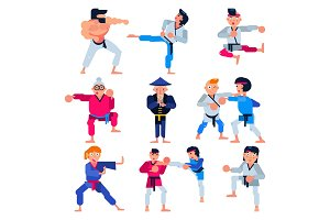 Karate vector martial karate-do character training attack illustration set of man or woman and elderly people in sportswear practicing in judo or taekwondo sport isolated on white background