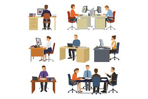 Business people vector professional workers sitting at table with laptop or computer in office illustration set of businessman working in business-office isolated on white background