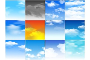 Sky clouds vector pattern cloudy backdrop and blue skyline heaven wallpaper illustration set of cloudscape daylight with fluffy background