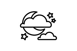 Moon, clouds and stars. Night icon