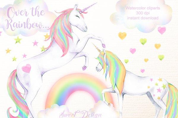 Rainbow unicorn cliparts