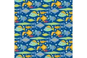 Aquarium ocean fish underwater bowl tropical aquatic animals water nature pet characters seamless pattern background vector illustration