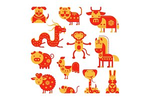 Chinese horoscope vector horoscopy animal symbol of astrological calendar in China illustration set of animalistic asian characters dog, dragon or horse for greeting cards isolated on white background