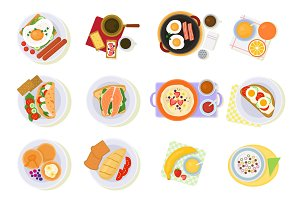 Breakfast vector coffee and fried eggs with croissant and fruits in the morning break illustration set of healthy food porridge or cereal isolated on white background