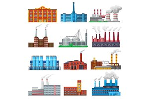 Factory vector industrial building and industry or manufacture with engineering power illustration set of manufacturing construction producing energy or electricity isolated on white background