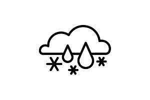 Web icon. Snow with rain black