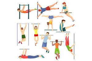 Athlete on horizontal bar vector illustration workout of athletic characters training on crossbar set of sportive people exercising with equipment isolated on white background