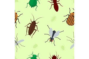Fly insects wildlife entomology bug animal nature beetle biology buzz icon vector illustration pattern seamless background