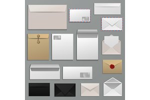 Envelope vector blank of letter on paper mailing to postal mailers address and postcard template illustration set of business mockup correspondence isolated on background