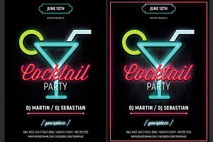 Neon Cocktail Party Flyer Template