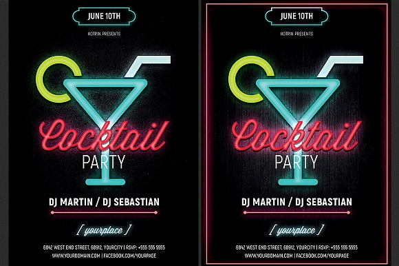 neon cocktail party flyer template flyer templates creative market