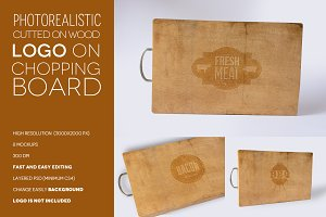 Logo on chopping board mockups