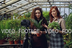 Smiling girls bloggers and gardeners in aprons are holding flowers and talking while recording video blog for online vlog about gardening with camera on tripod.