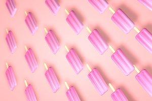 Violet pepsical ise cream on pastel pink minimal background.