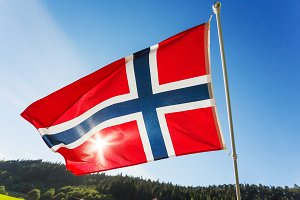 Norway flag in sunny windy day