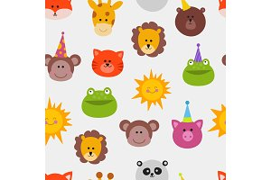 Animals carnival mask vector set festival decoration masquerade seamless pattern monkey, lion, cat, frog and sun