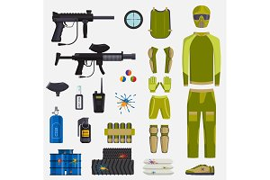 Paintball game vector guns and player body paintball club symbols icons protection uniform and active sport design elements shooting man costume equipment target illustration