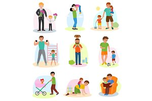 Father and child vector dad and kids daughter or son playing together or workout illustration of Fathers day set happy daddy with children isolated on white background
