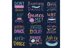 Dance lettering vector dancing sign and dancer typographic print illustration set of inspirations for dance-hall isolated on background