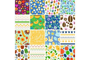 Vector Easter spring traditional background seamless pattern illustration with egg card design Easter holiday celebration party wallpaper greeting colorful rabbit and natural elements fabric textile