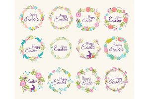 Happy Easter logo quote text flower branch and springtime illustration traditional decoration elements hand-drawn badge lettering greeting Easter celebrate card and natural wreath spring flower