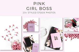 Pink Girl Boss Stock Photo Bundle