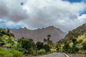 Desolate road lead among remote villages towards the ridges of Santo Antao Cape Verde