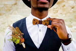 African bridegroom in a black hat