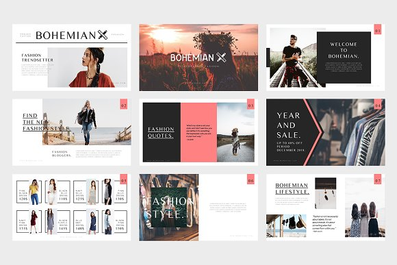 bohemian fashion powerpoint template presentation templates