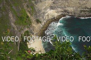 Cliffs, sea and waves at Nusa Penida, Bali, Indonesia