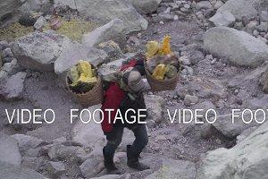 Sulfur worker, Mount Kawah Ijen volcano.