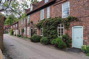 Pretty street of brick houses in village of Hambleden