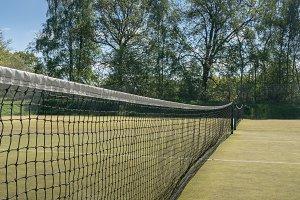 Detail of tennis net on court