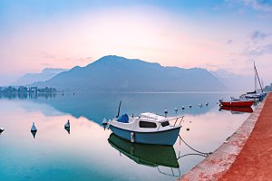 Annecy lake and Alps mountains, France