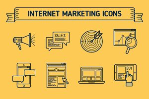 Marketing, Outline & Colored Icons