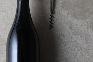 pinot noir shaped wine bottle