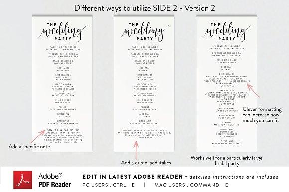 editable pdf wedding program stationery templates creative market