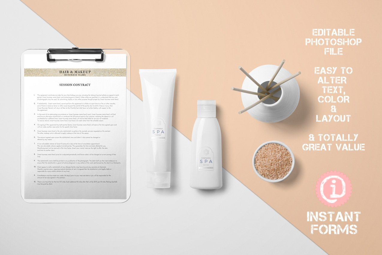 Hair Stylist And Makeup Artist Forms Stationery Templates