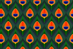 Peacock feathers seamless pattern