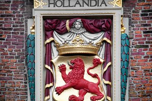 Hollandia sculpture on the building