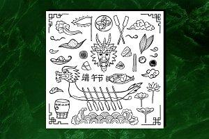 Dragon Boat Set+2 Seamless Patterns