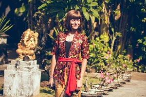 European woman in traditional balinese wedding ceremony costume.