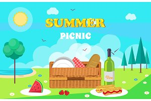 Summer Picnic Composition Vector Illustration