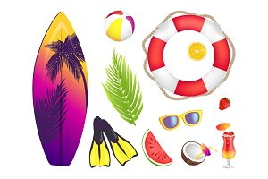 Summer Elements Collection Vector Illustration