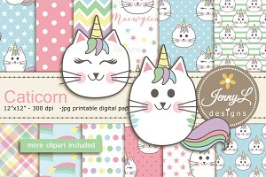 Caticorn Cat Digital Paper & Clipart