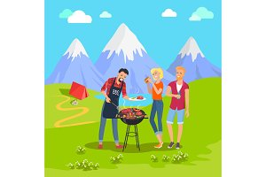 Beautiful Mountain Landscape and Barbecue Party