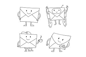 Envelopes letter waiting to be send subscription. Character collection set vector stock clipart illustration. Hand drawn black line.