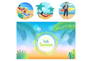 Hello Summer 2017 Poster, Vector Illustration