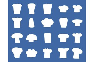 Chef Hats Designs Isolated White Silhouettes Set