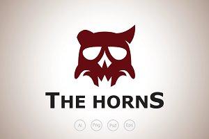 Broken Horn Skull Logo Template
